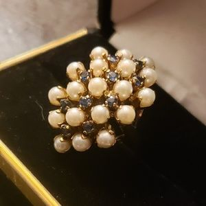 Vintage antique pearl and sapphire ring